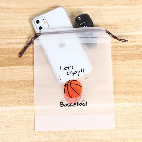 セットがお得 便利なミニビニール巾着袋 オリジナルバスケットボール柄 単価34円〜【画像3】
