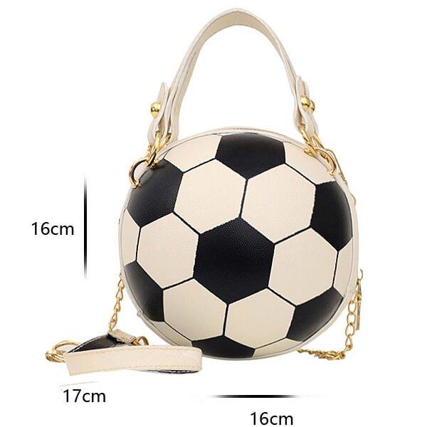 サッカーボール型ラウンドショルダーバック(2way) ゴールドチェーン付き