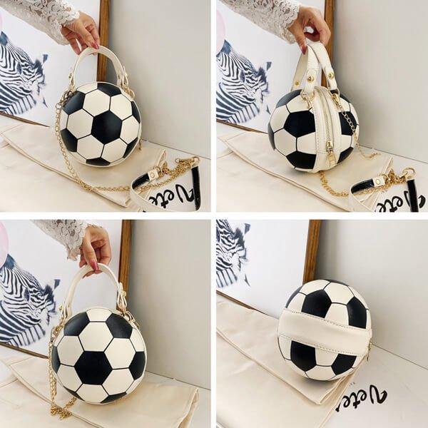 サッカーボール型ラウンドショルダーバック(2way) ゴールドチェーン付き【画像6】