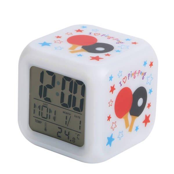 イルミネーション置き時計 ポップな卓球柄 (スヌーズ機能付き)