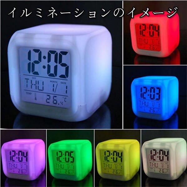 イルミネーション置き時計 ポップな卓球柄 (スヌーズ機能付き)【画像4】