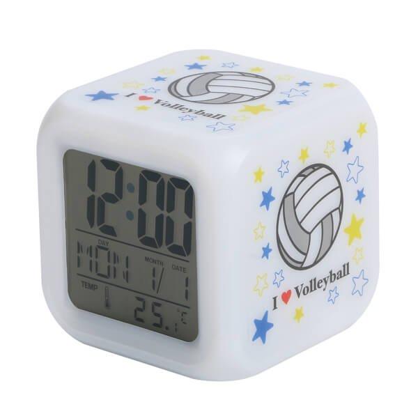 イルミネーション置き時計 ポップなバレーボール柄 (スヌーズ機能付き)