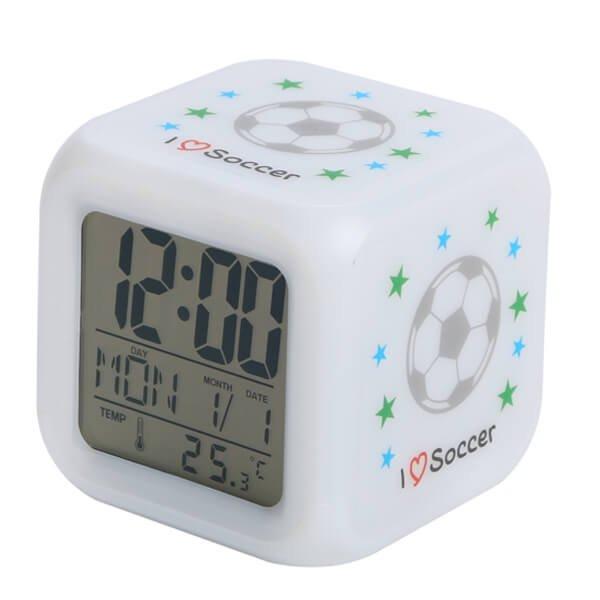 イルミネーション置き時計 ポップなサッカー柄 (スヌーズ機能付き)【画像2】