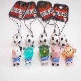 部活ストラップ 可愛い動物 と サッカーボール 1個