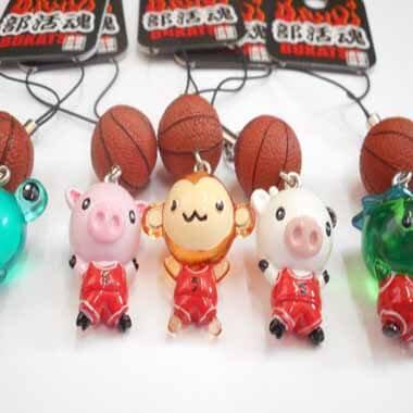 部活ストラップ 可愛い動物 と バスケットボール 1個