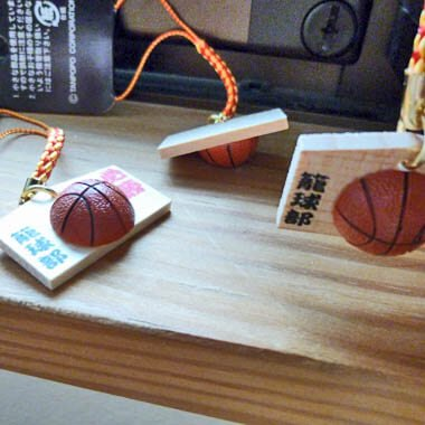 バスケットボール付根付ストラップ 木製絵馬(必勝!)【画像2】