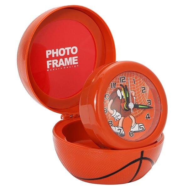 フォトフレーム付目覚まし時計 バスケットボールタイプ