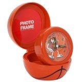 (訳あり 割引販売)フォトフレーム付目覚まし時計 バスケットボールタイプ