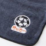 サッカー プレゼント向け 右下にサッカーボール柄 シンプルなミニタオル