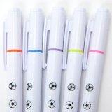 サッカーボール柄入りのかわいいオリジナル蛍光ペン(逆側にボールペン) 1本