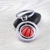 メタリック 回転するバスケットボール キーホルダー