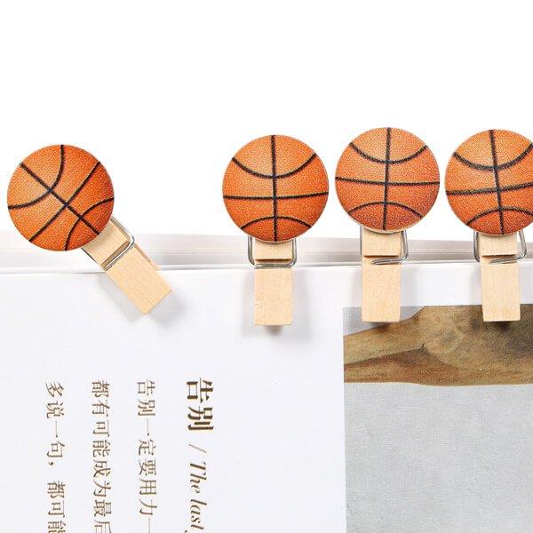 バスケットボール付きのオリジナル木製クリップ1個【画像2】