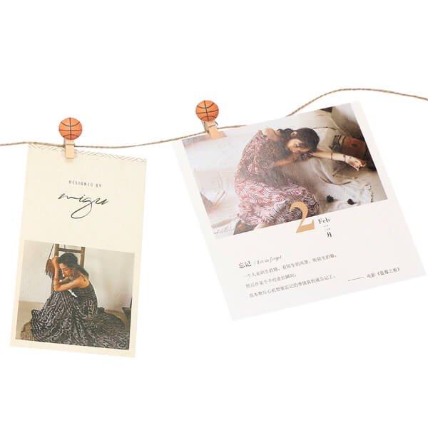 バスケットボール付きのオリジナル木製クリップ1個【画像4】