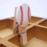 野球ボール付きの木製ミニクリップ