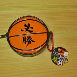 バスケットボール型 カラビナ付き エナメルマルチケース