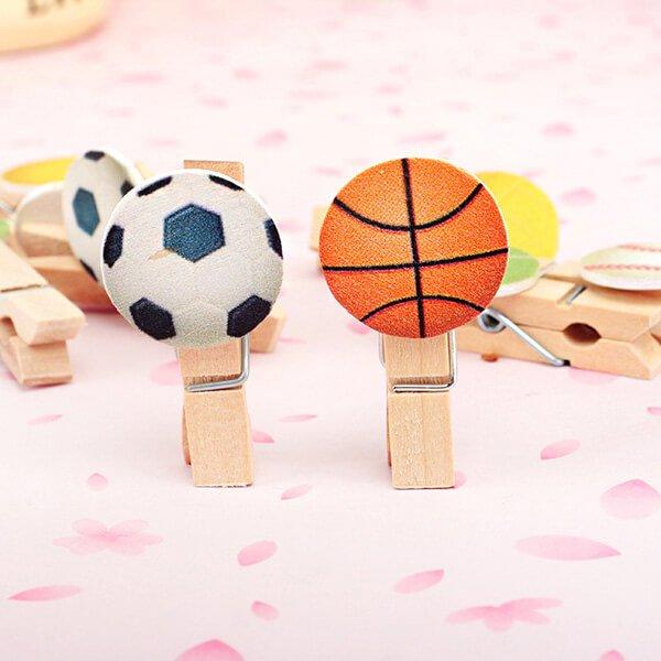 サッカーボール付きの木製ミニクリップ【画像3】