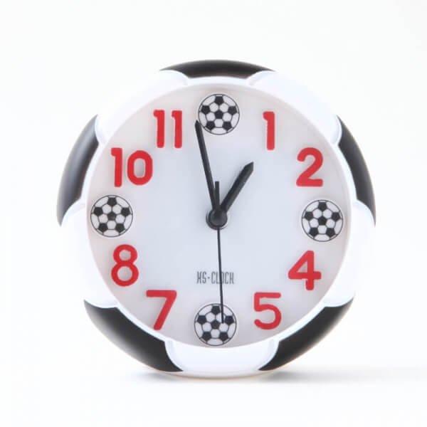 サッカーボール柄 コンパクト目覚まし時計