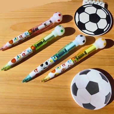 かわいい柄入り サッカーボール付き ライトボールペン (光るペン) 1本【画像4】