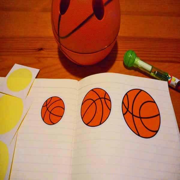 バスケットボール型の可愛いシール【画像4】
