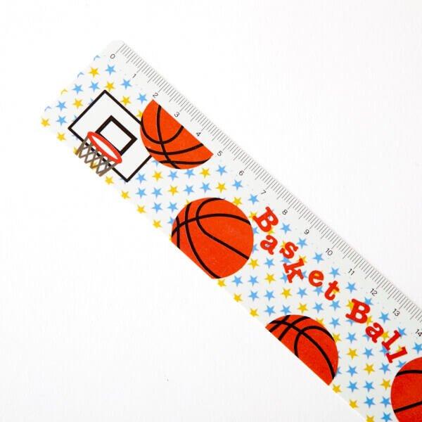 セット購入がお得! バスケットボール柄 オリジナルものさし(定規) 単価88円〜