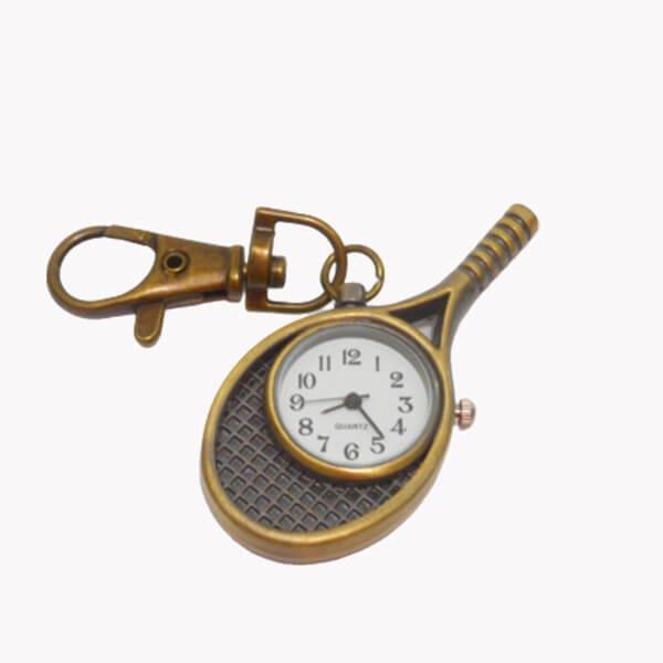 フック付きテニスラケット型懐中時計(暗いゴールド)