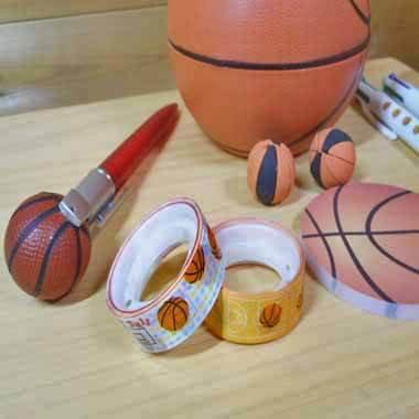 セットでお得! オリジナルマスキングビニールテープ(ミニ) バスケットボール柄 単価107円〜【画像2】