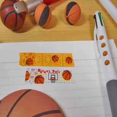 セットでお得! オリジナルマスキングビニールテープ(ミニ) バスケットボール柄 単価107円〜【画像3】