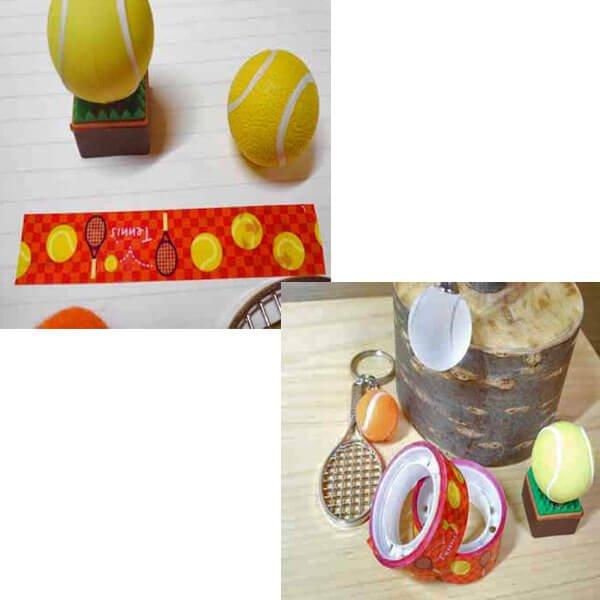 セットでお得! オリジナルマスキングビニールテープ(ミニ) テニスボール柄 単価126円〜【画像2】