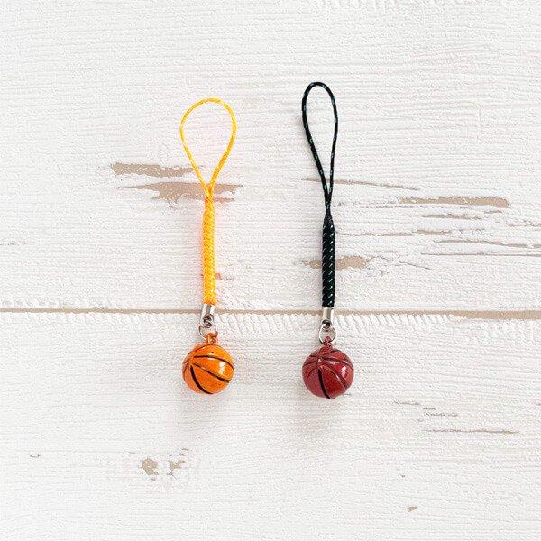 鈴の音に癒される ミニ鈴の根付けストラップ バスケットボール型 1個カラーを選択