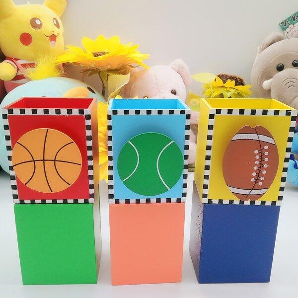 机上で便利 バスケットボール付き木製文具入れ【画像2】