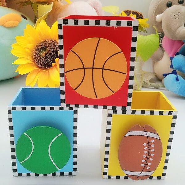 机上で便利 バスケットボール付き木製文具入れ【画像3】