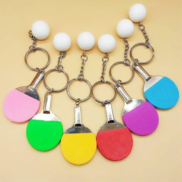 カラフル卓球ラケットと卓球ボールのダブルキーホルダー【画像7】