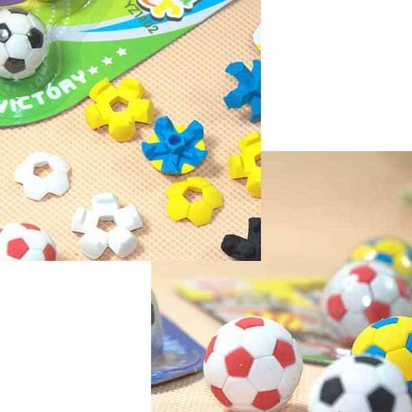 サッカーボールの消しゴムセット 可愛いパッケージにサッカーボール3個入り【画像2】