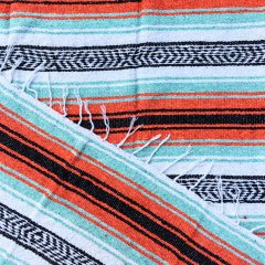 <img class='new_mark_img1' src='//img.shop-pro.jp/img/new/icons57.gif' style='border:none;display:inline;margin:0px;padding:0px;width:auto;' />MOLINA INDIAN BLANKET | メキシコ製 ラグ ブランケット - ミント×オレンジ