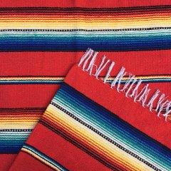 Rio Bravo Blankets   メキシコ製 ラグ ブランケット ゴツめ ヘビーオンス 1430×1820 - レッド