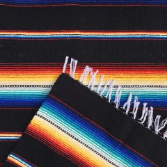 Rio Bravo Blankets | メキシコ製 ラグ ブランケット ゴツめ ヘビーオンス 1430×1820 - ブラック