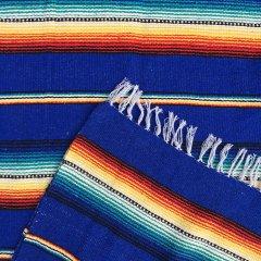 Rio Bravo Blankets | メキシコ製 ラグ ブランケット ゴツめ ヘビーオンス 1430×1820- ブルー