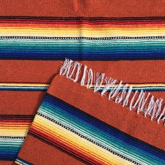 Rio Bravo Blankets | メキシコ製 ラグ ブランケット ゴツめ ヘビーオンス 1430×1820 - オレンジ
