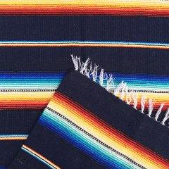Rio Bravo Blankets | メキシコ製 ラグ ブランケット ゴツめ ヘビーオンス 1430×1820 - ネイビー
