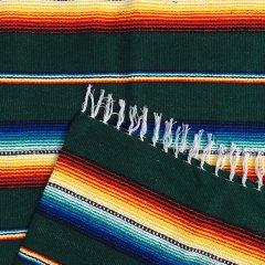 Rio Bravo Blankets | メキシコ製 ラグ ブランケット ゴツめ ヘビーオンス 1430×1820 - グリーン