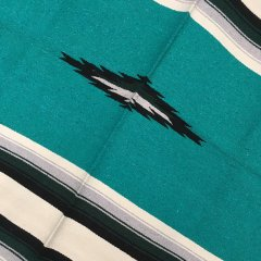 Diamond Center Blankets | メキシコ製 大判 ラグ ブランケット ゴツめ ヘビーオンス 1440×2100 - ティールグリーン