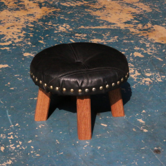 Low Chair | 木製 レザーカバー スタッズ ハンドメイド チェア