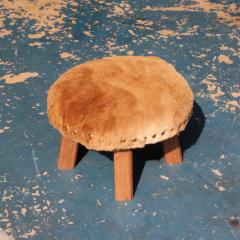 Low Chair | 木製 ファーカバー スタッズ ハンドメイド チェア