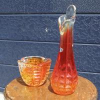 アデリアグラス | 一輪挿し&灰皿セット オレンジ