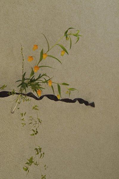 新作! ~アイアン壁掛け花器 obi~