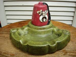 Masonic Shriner Fez Hat Type Ceramic Ashtray - USED VINTAGE CLOTHING  GASOLINE WEB SHOPPING