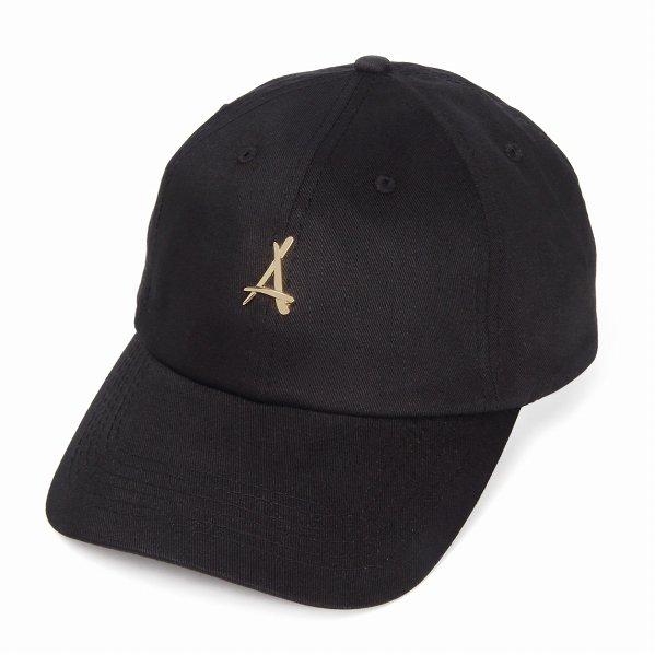 "Tha Alumni Clothing ロゴ 6パネル ストラップバックキャップ ブラック ""24K BLACK DAD HAT"""