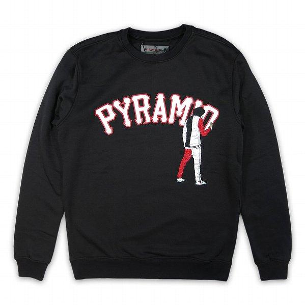 """Black Pyramid ブラックピラミッド ロゴ クルーネックスウェット ブラック """"Graffiti Boy LS Crewneck&quo…"""