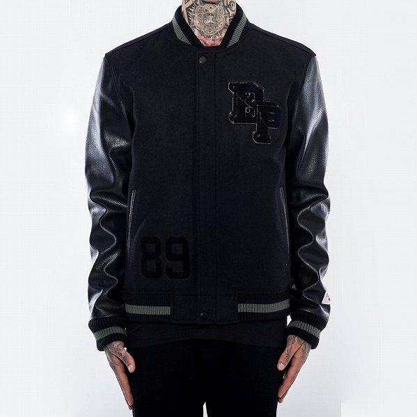 "Black Pyramid ブラックピラミッド ロゴ スタジアムジャケット ブラック ""BP Logo Varsity Jacket&quo…"
