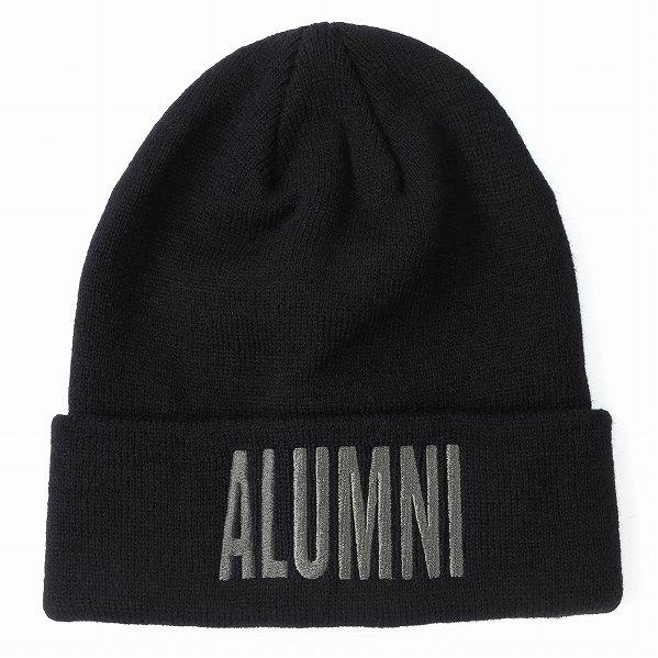 "Tha Alumni Clothing アルムナイ ロゴ ニットキャップ ブラック×チャコールグレーロゴ ""SQUAD BEANIE&quo…"